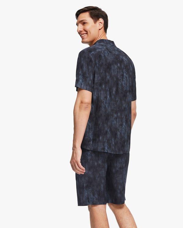 お洒落 スモッグプリント 半袖 メンズ シャツ-hover