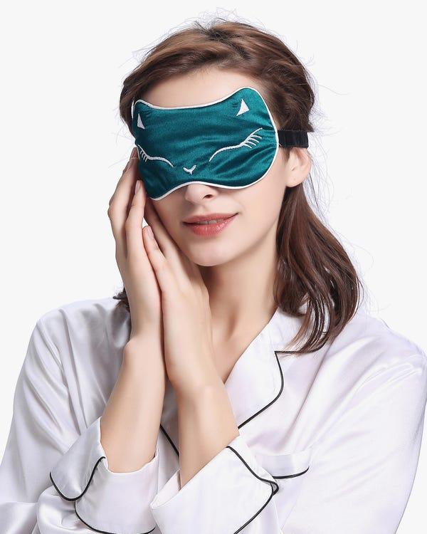 【19匁】シルクアイマスク【可愛い 猫柄 猫耳付き】