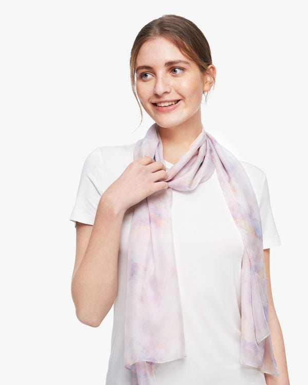水彩柄 シルクスカーフ-hover