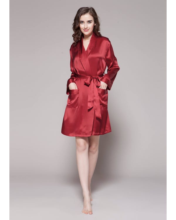 22 Momme Mid Length Silk Robe-hover