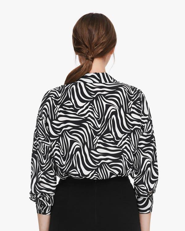 トレンド ゼブラ柄 長袖 シルクシャツ 透け感なし「素材:18匁シルク100%」-hover