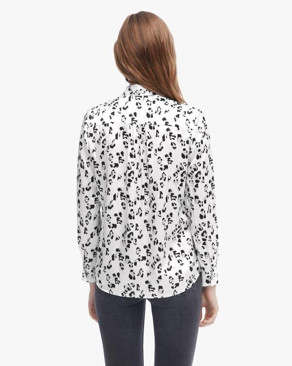 上品 黒白 ヒョウ柄 リボン付き 長袖 シルクブラウス「素材:19匁シルク100%」-hover