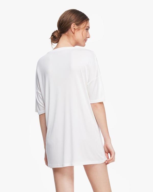 洗練 五分袖 ルーズフィット シルクニット ロングTシャツ ルームウェア「素材:シルク100%」-hover