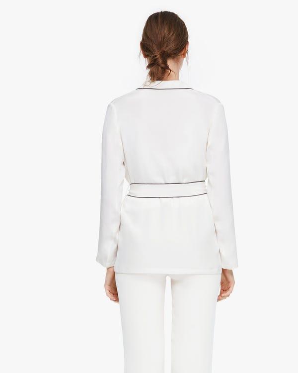 ビンテージ パジャマ風 長袖 カッコ良い シルクアウター「素材:30匁シルク100%」-hover