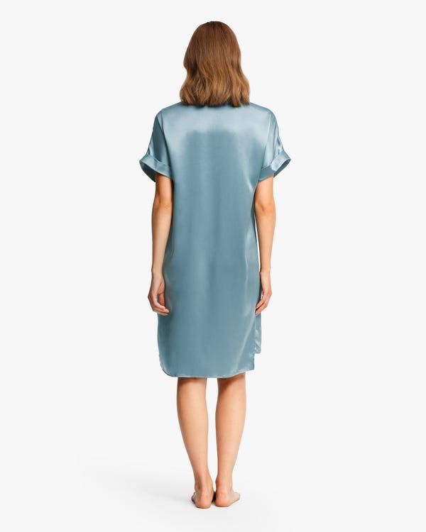 22匁 無地 半袖 ブラ付き シルクネグリジェ ロングTシャツ-hover
