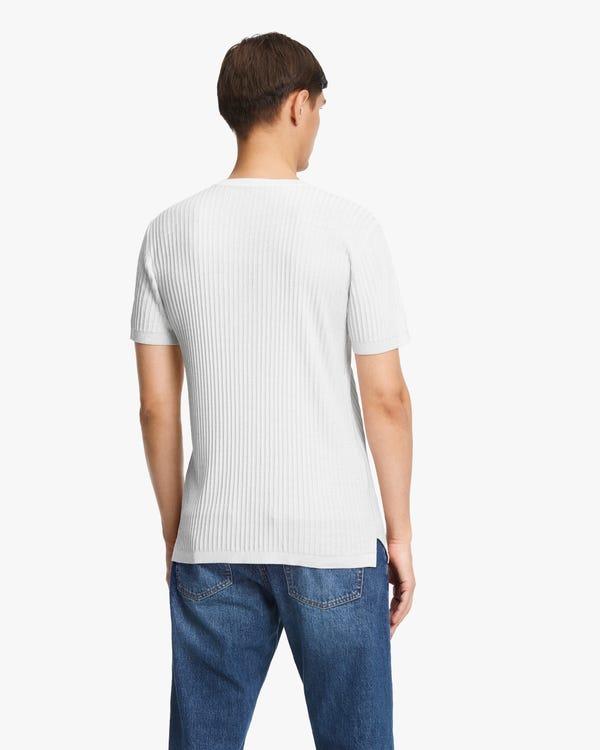ジャカード ニット 半袖 メンズ シルクTシャツ「素材:シルク100%」-hover