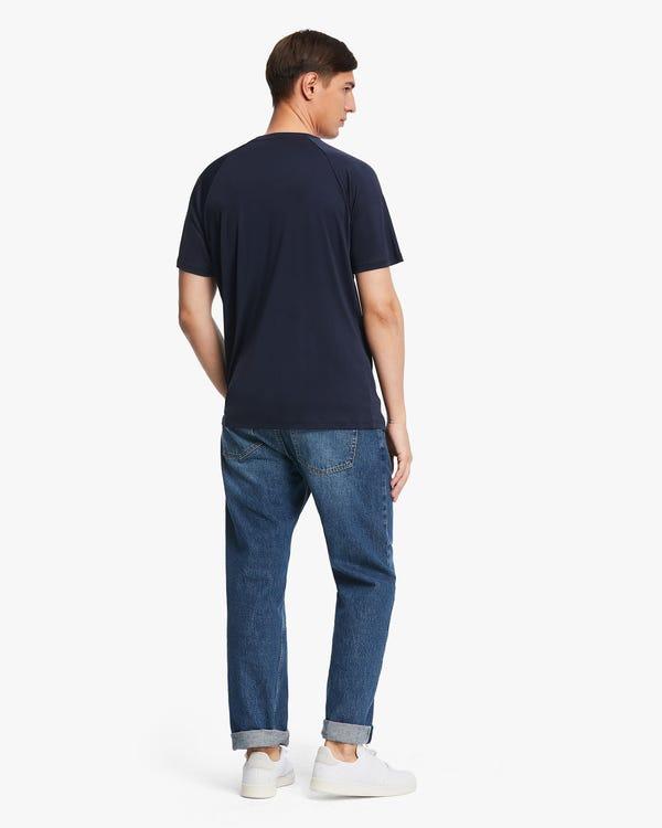 シンプル 丸首 半袖シルクニット メンズTシャツ「素材:シルク100%」-hover