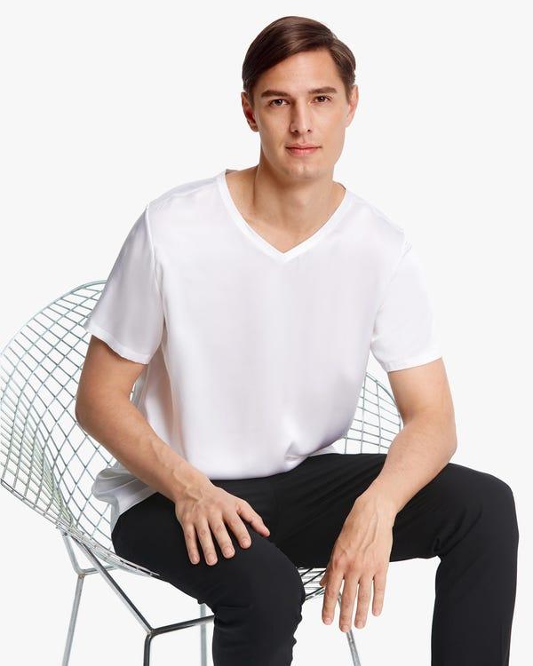 シンプル 半袖 Vネック シルク メンズ Tシャツ「素材:22匁シルク100%」-hover