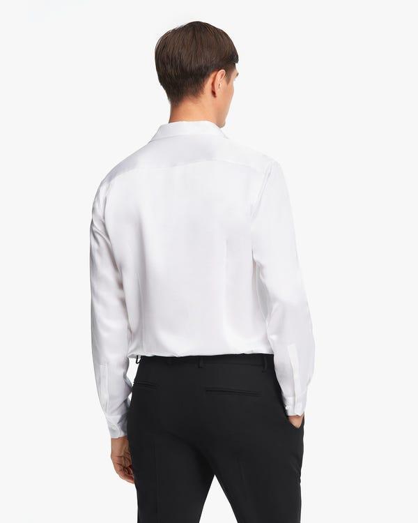 定番 フォーマル シルク メンズドレスシャツ「素材:22匁シルク100%」-hover