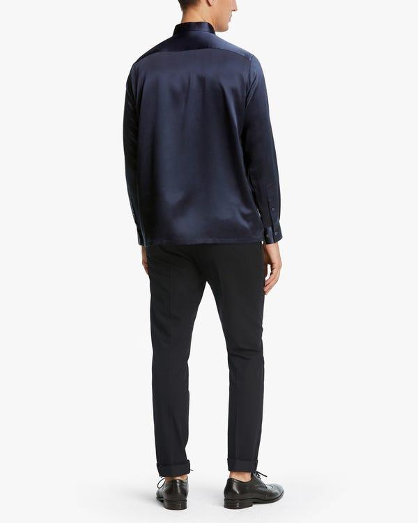 メンズ 定番 長袖 ストライプ柄シルクシャツ「素材:シルク90%+スパンデックス10%」-hover