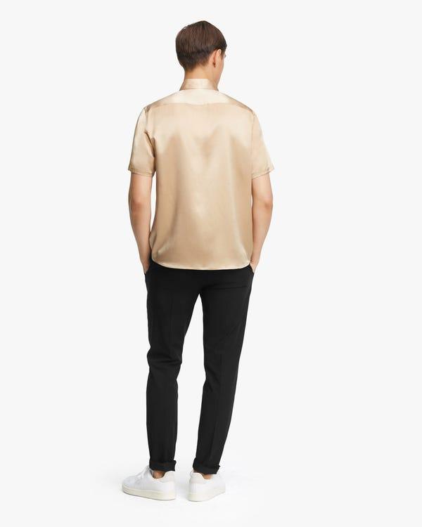 贅沢 半袖 メンズ シルクシャツ「素材:22匁シルク100%」-hover