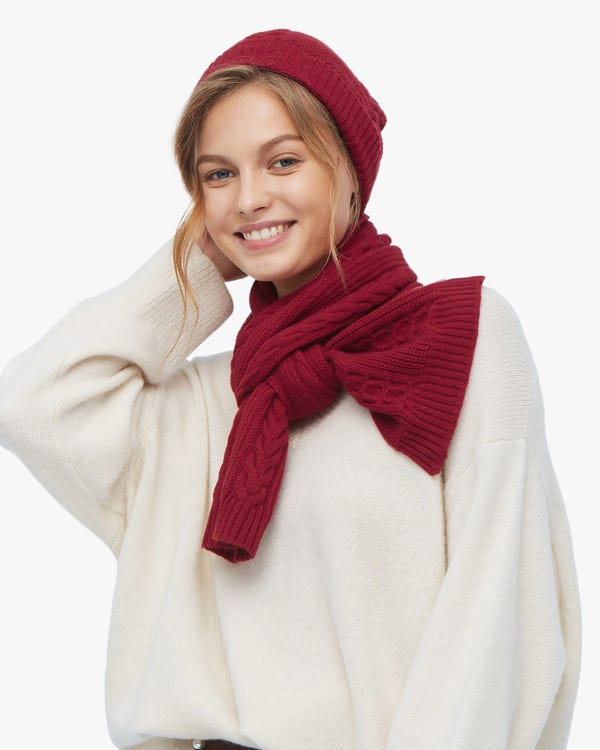 Warm Cashmere Scarf And Hat Set