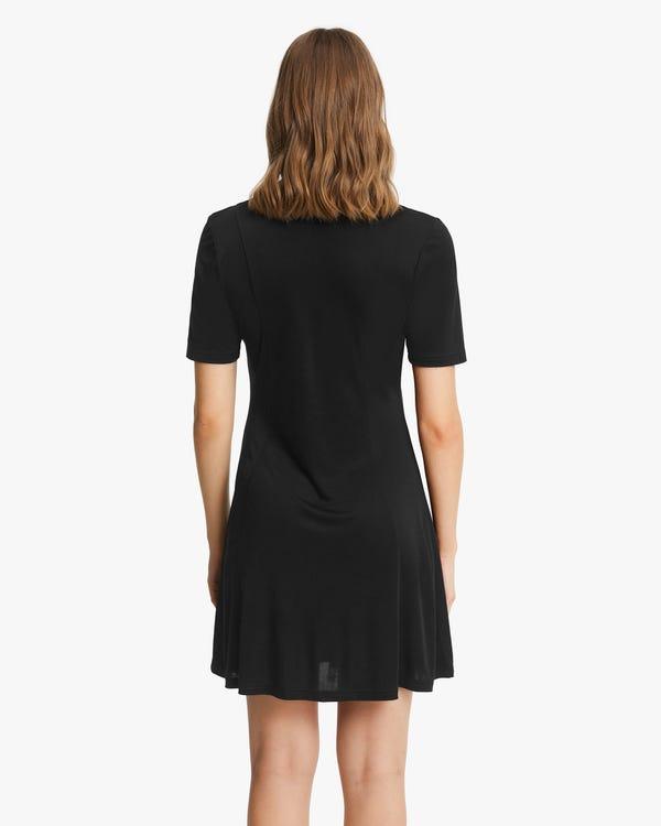 Floaty Silk Knitted Skater Dress-hover