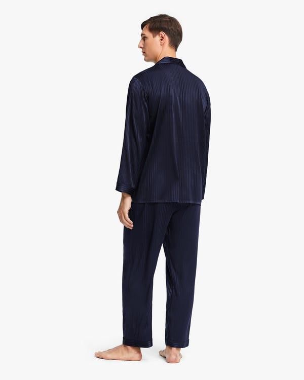 メンズ 縞模様 長袖 シルクパジャマ-hover