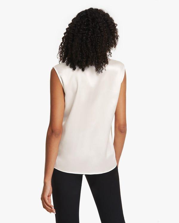ノースリーブ シルクシャツ 大きいカラー-hover