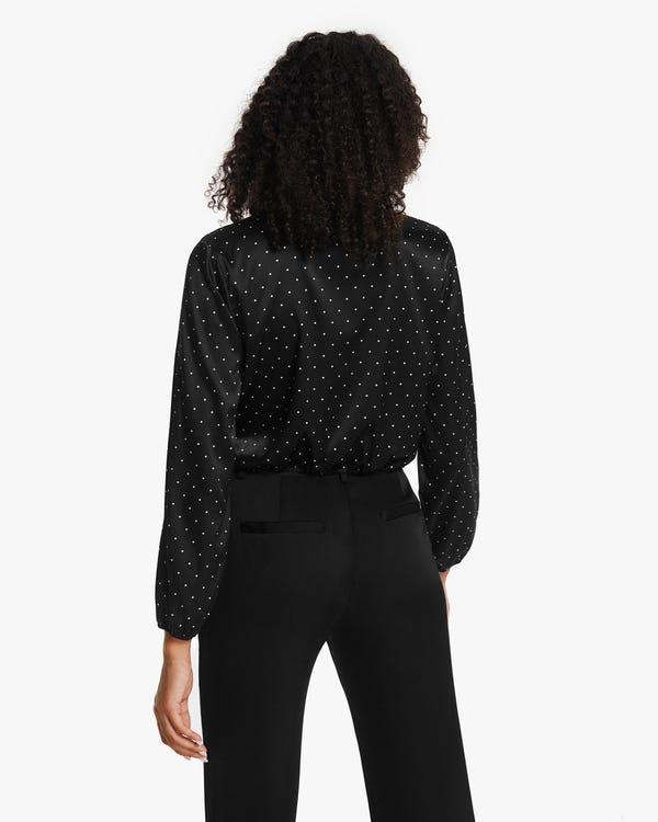 上品 水玉柄 伸縮性良い シルクシャツ「素材:シルク90%+スパンデックス10%」-hover