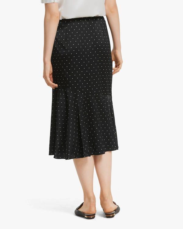 上質 水玉柄 フレア スカート シルク スカート「素材:シルク90%+スパンデックス10%」-hover