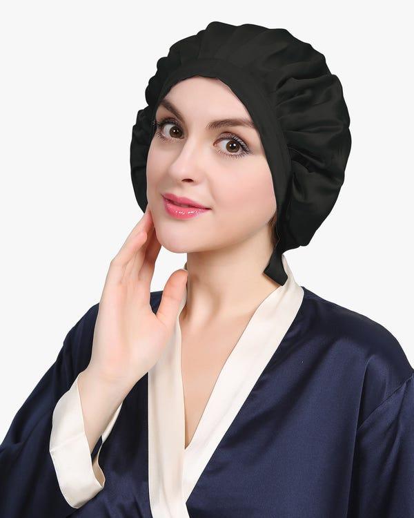 渡辺直美さんおススメ!19匁天然シルク100%ナイトキャップ お休みキャップ 就寝用帽子 シンプルスタイル-hover