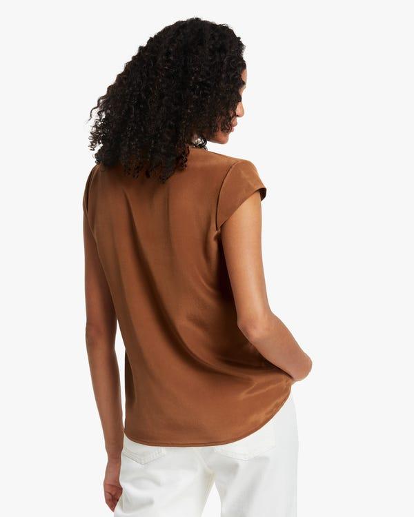 夏 プリーツ ネックライン キャップ袖 シルクブラウス「素材:18匁シルク100%」-hover