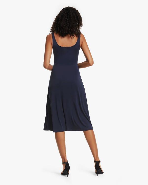 無地 シルクニット ドレス 袖なし シルクワンピース「素材:100%」-hover