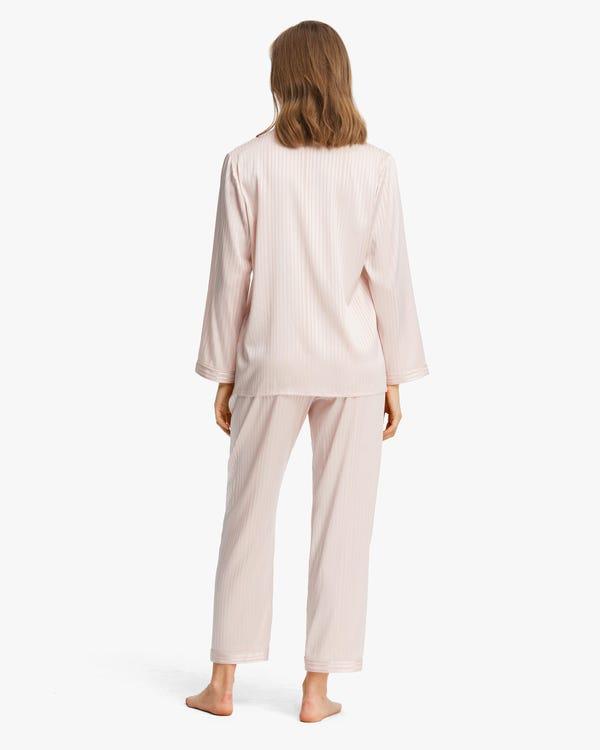 レディース 縞模様 伸縮性良い 長袖 シルクパジャマ-hover