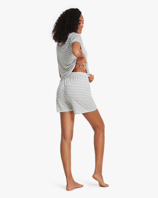 夏用 縞模様 半袖 シルクニット パジャマ-hover
