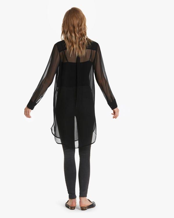 上品 エアリーシアー ロング丈 シルクシャツ「素材:8匁シルク100%」-hover