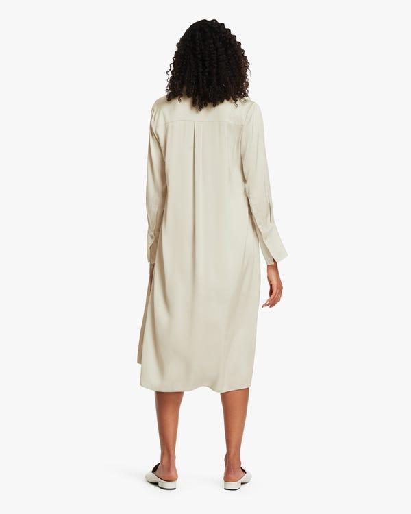 夏 薄い ロング丈 シルクコート ロングシャツ「素材:22匁シルク90%+スパンデックス10%」-hover