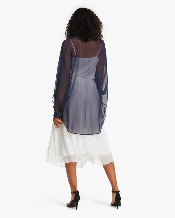 夏用 薄い UVカット シルク チュール ジャケット「素材:8匁シルク100%」-hover