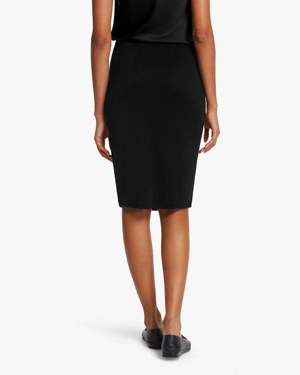 クラシック 膝丈シルクニット スカート「素材:シルク100%」-hover