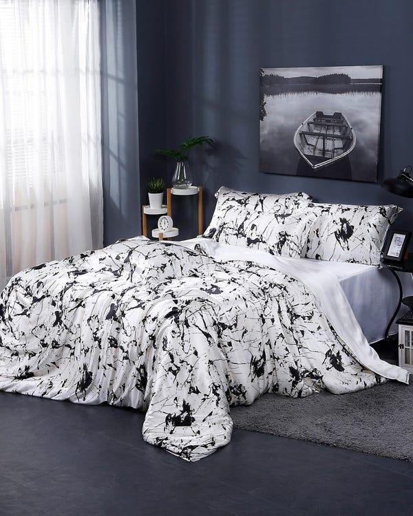 【19匁】シルク寝具カバーセット【マーブル柄】