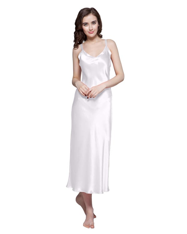 22 Momme Long & Close Fitting Silk Nightgown-hover