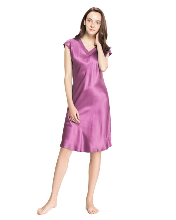 22 Momme Relaxed Fit Long Silk Nightgown-hover