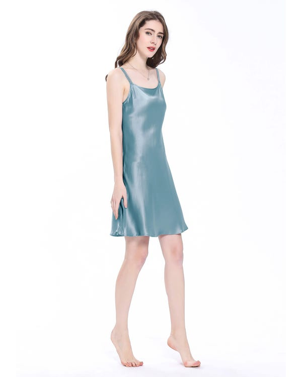 22 Momme Mini Scoop Neck Silk Nightgown-hover