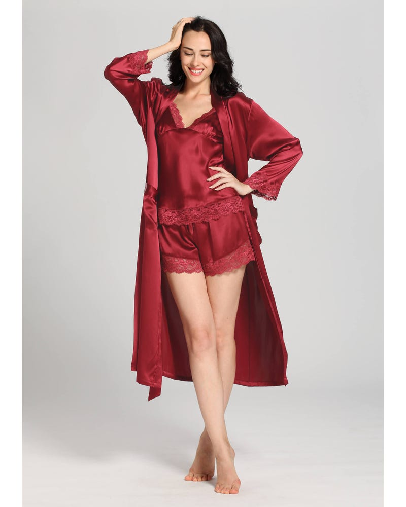 22 Momme Lace Silk Camisole & Robe Set