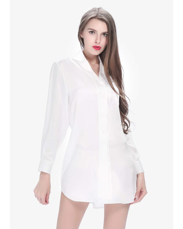 22 Momme Long Sleeve Casual Silk Nightshirt