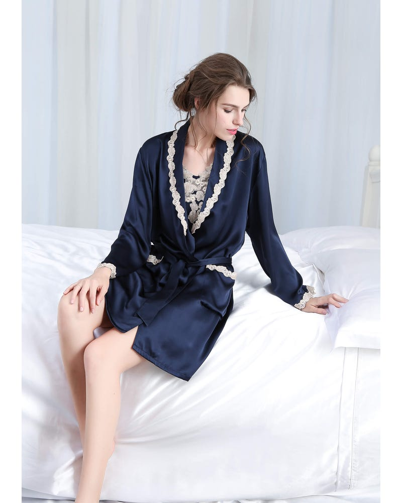 22 Momme Silk Nightgown & Robe Set With Delicate Lace