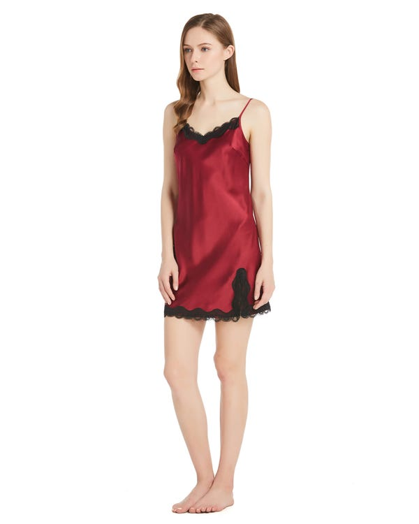 22 Momme Sexy Silk Nightdress with Lace-hover