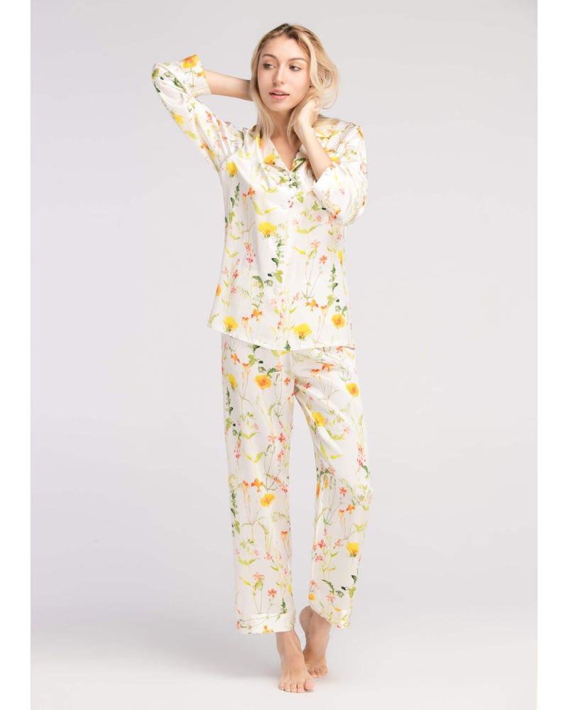 【22匁】シルク パジャマ【爽やかな花柄 ロング丈】