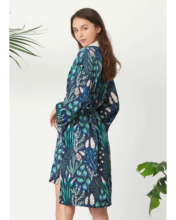 Womens Floral Printed Kimono Silk Robe-hover