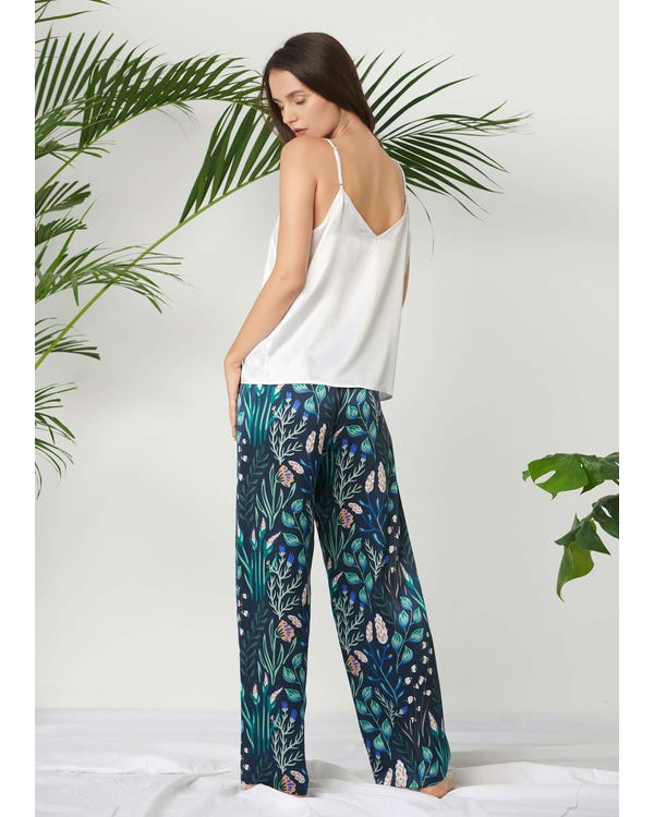 Floral Long Silk Camisole Set-hover