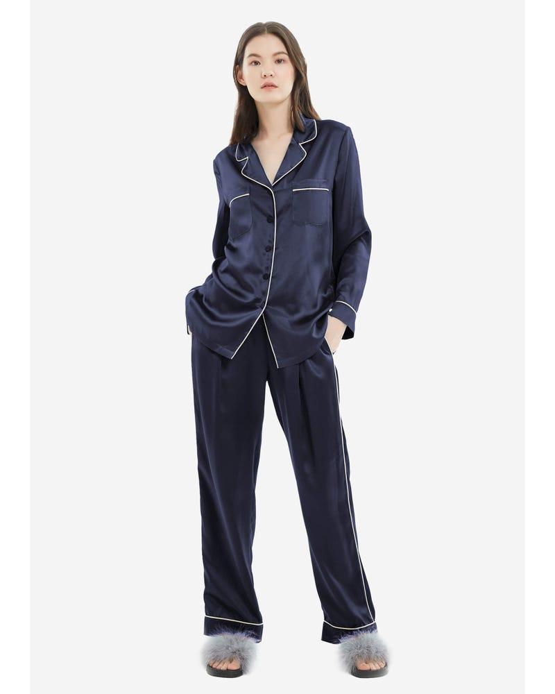 22MM Gold Piping Silk Pajamas Set