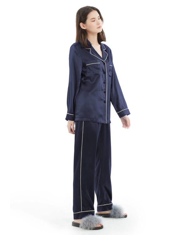 22MM Gold Piping Silk Pajamas Set