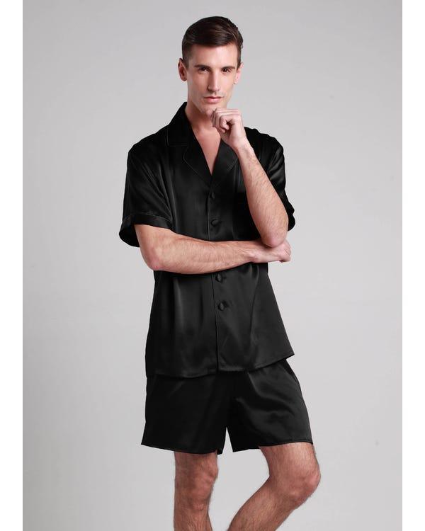 22 Momme Conjunto de Pijamas Corto de Seda Contraste Recorte Negro L