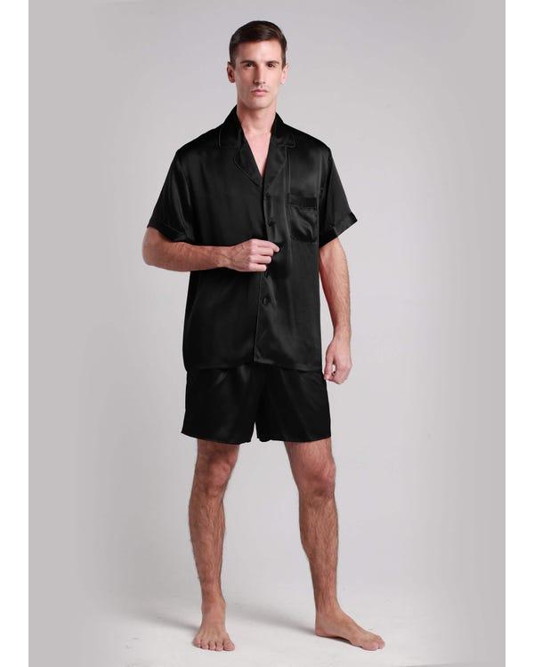 22 Momme Conjunto de Pijamas Corto de Seda Contraste Recorte Negro L-hover