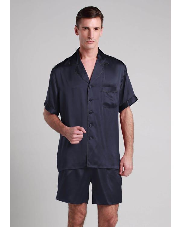 【22匁】メンズ シルクパジャマ【折り襟】 ネイビーブルー L