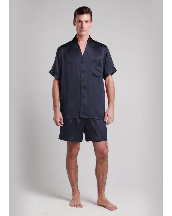【22匁】メンズ シルクパジャマ【折り襟】 ネイビーブルー L-hover