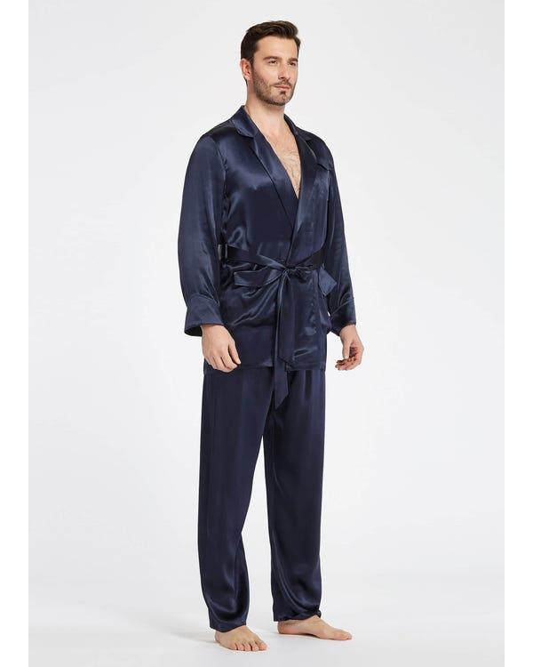 【22匁】 メンズ シルク パジャマ 上下セット【ラペルカラー ウエストバンド】