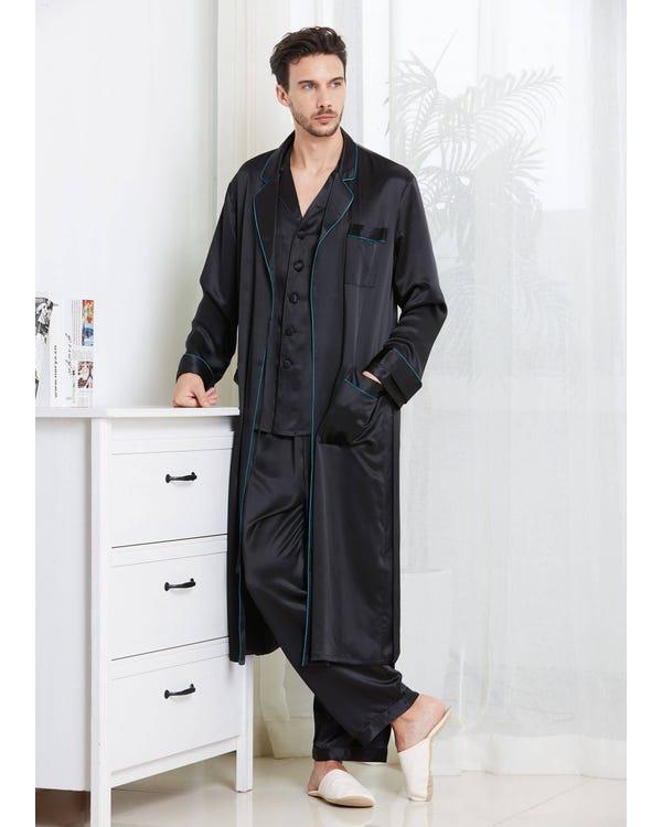 【22匁】メンズ カジュアル 長袖 シルクパジャマ& シルクローブ セット ブラック L-hover