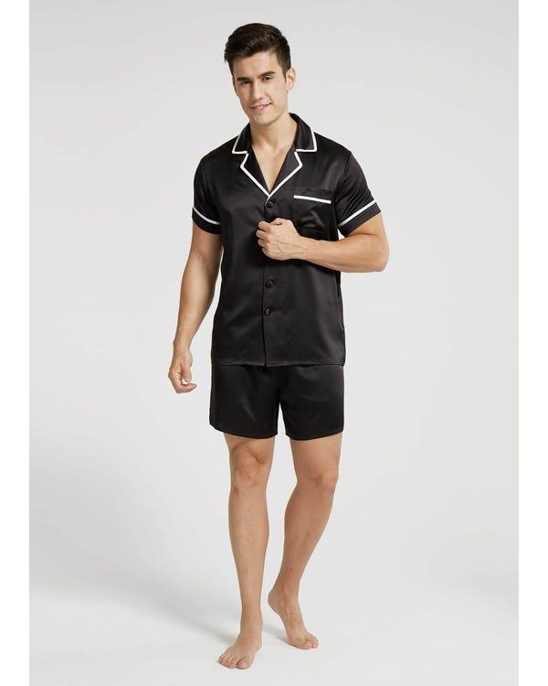 【22匁】メンズ異色トリム半袖 夏用パジャマ ブラック L-hover
